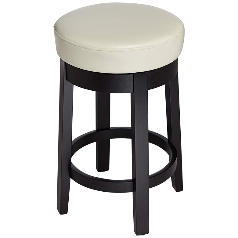 "Cedric 26"" Cream Bonded Leather Swivel Counter Stool"