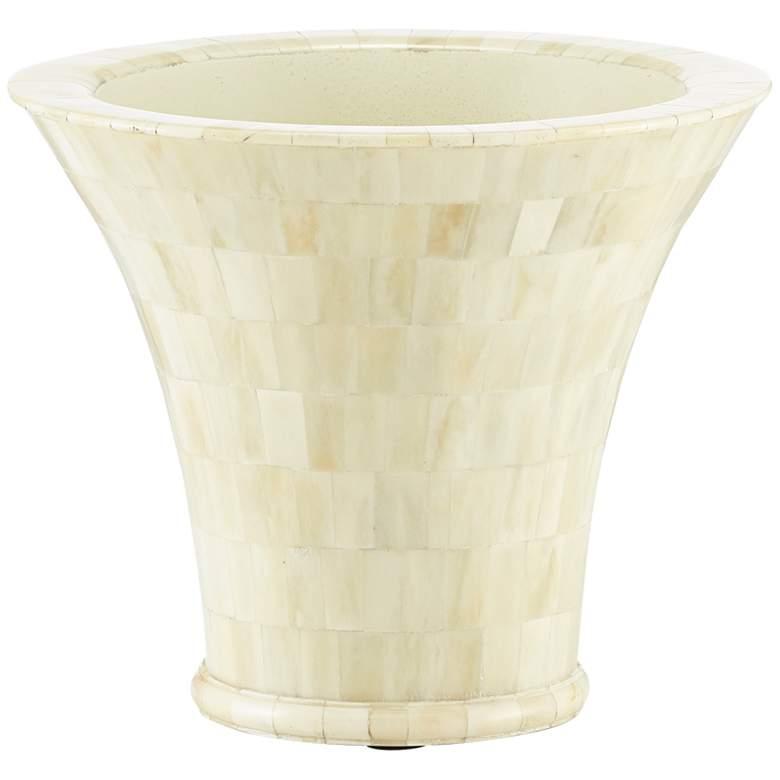 "Currey and Company Mughal Camel Bone 10"" Wide Mosaic Vase"