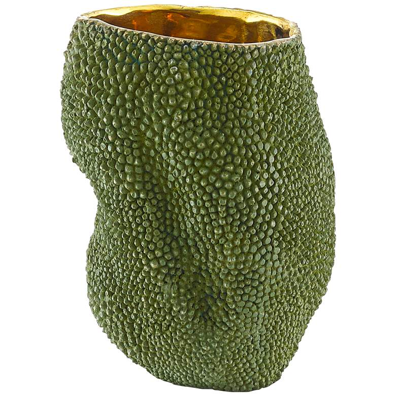 """Currey and Company Jackfruit Green and Gold 6 3/4"""" High Vase"""