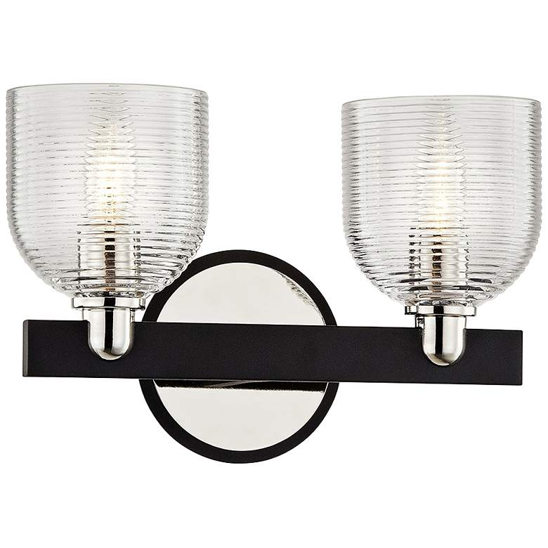 """Munich 8 1/2""""H Carbide Black and Nickel 2-Light Wall Sconce"""
