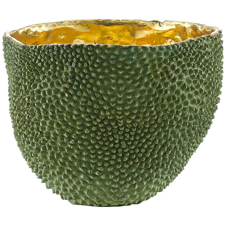 """Currey and Company Jackfruit Green and Gold 8 1/4"""" Wide Vase"""