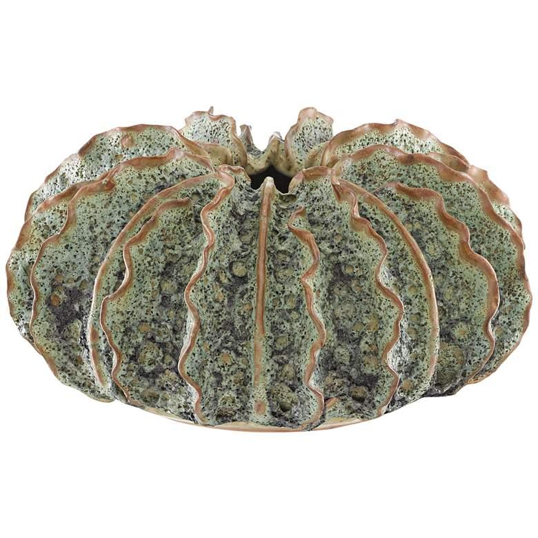 """Sunken Boat Moss Green 13 1/4"""" Wide Wings Ceramic Vase"""
