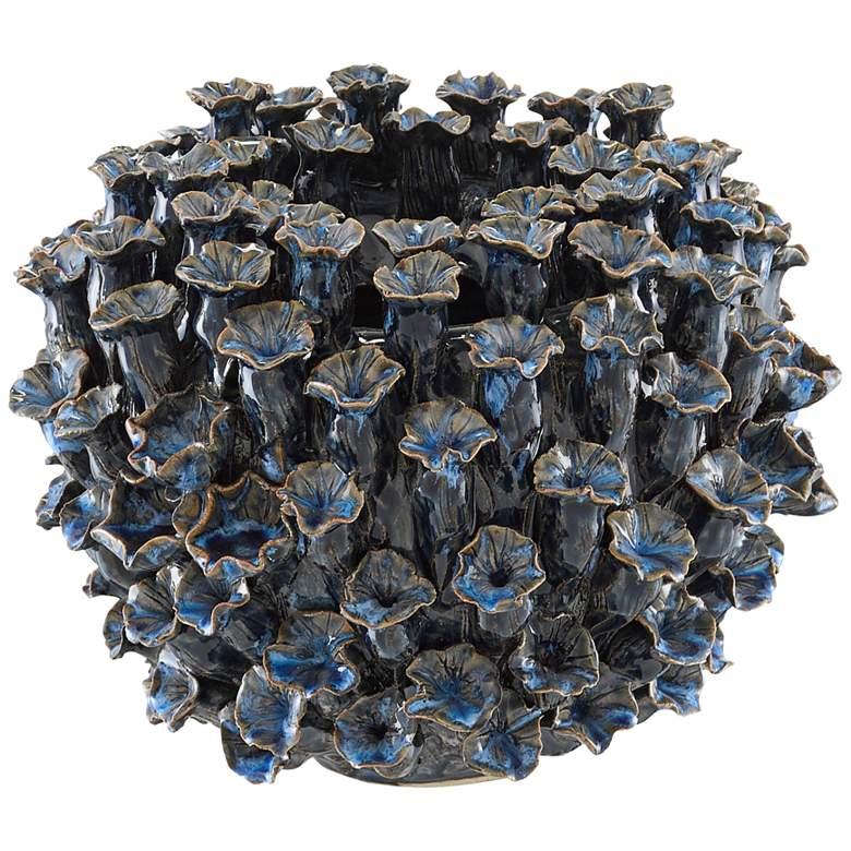 "Currey and Company Manitapi Dark Blue 8 3/4""W Ceramic Vase"