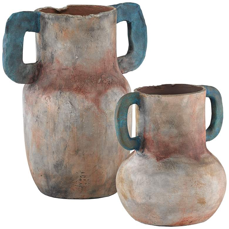 Arcadia Sand and Teal Terracotta Vases Set of 2