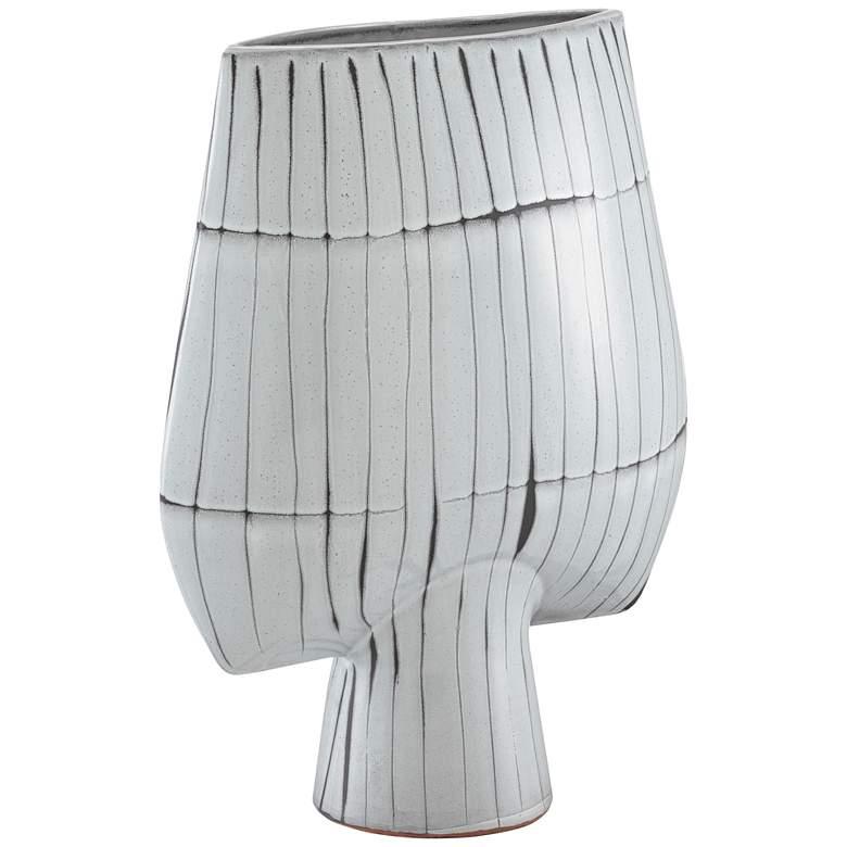 "Manhattan White w/ Black 16 3/4""H Terracotta Decorative Vase"