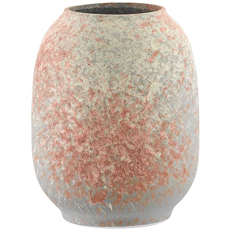 "Sunset Gray Sand and Coral 8 1/2""H Porcelain Decorative Vase"