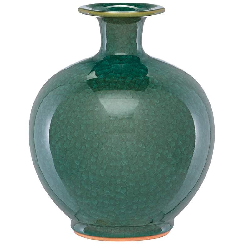 """Kara Crystalized Green 12"""" High Porcelain Decorative Vase"""