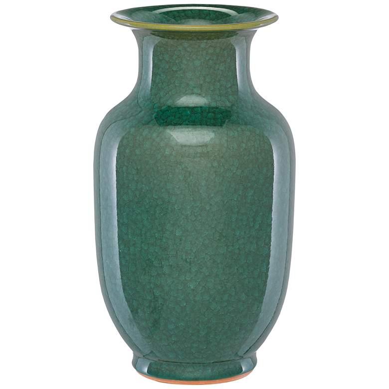 """Karoo Crystalized Green 15 3/4""""H Porcelain Decorative Vase"""