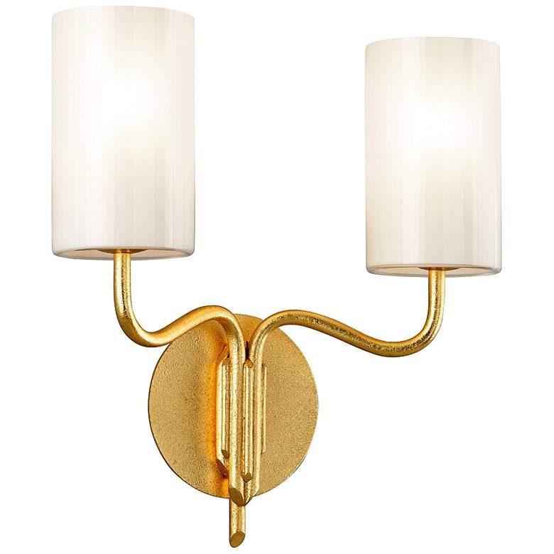 """Juniper 15"""" High Textured Gold Leaf 2-Light Wall Sconce"""