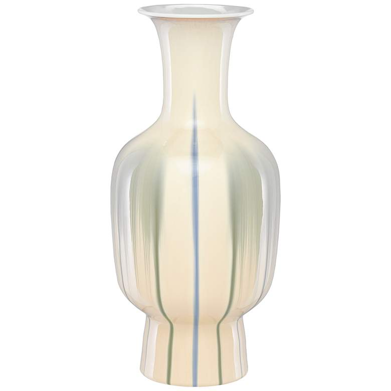 "Karoo Cream and Artichoke Green 19 3/4"" High Porcelain Vase"