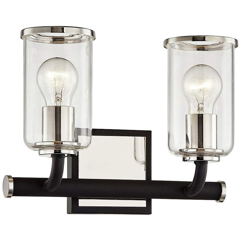 """Aeon 9"""" High Carbide Black and Nickel 2-Light Wall Sconce"""