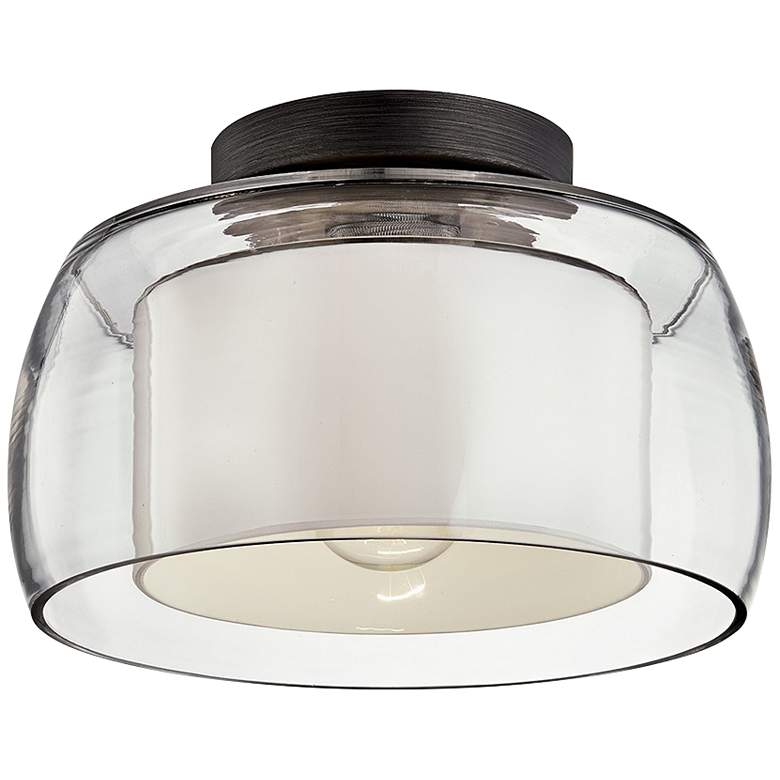 "Candace 12 1/2"" Wide Graphite Drum Ceiling Light"