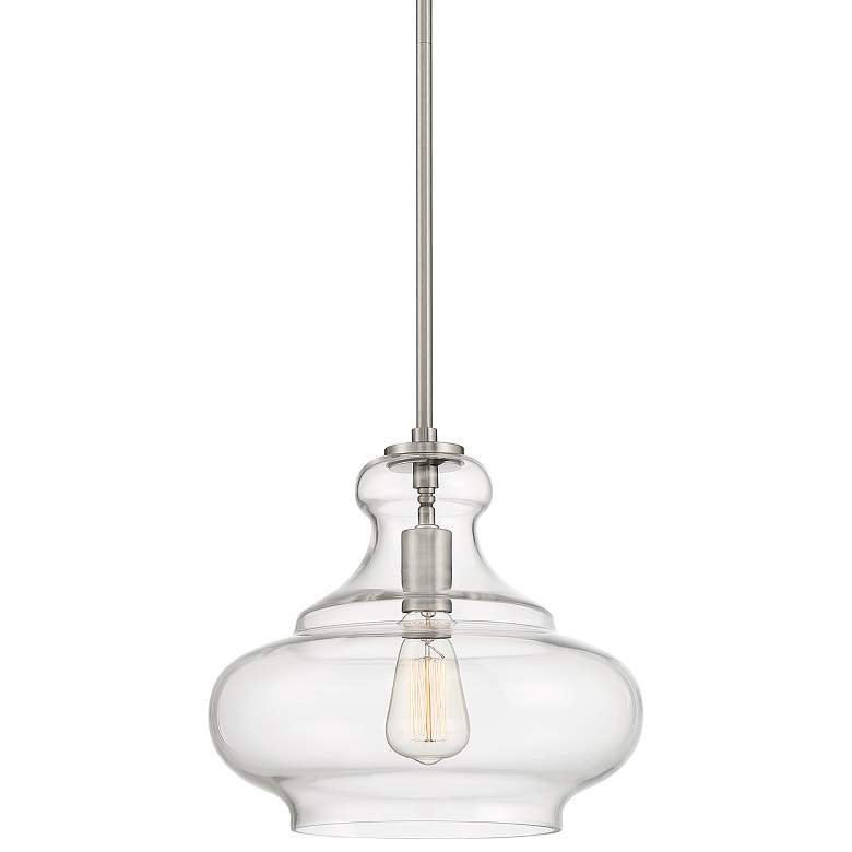 "Possini Euro Declan 12 3/4""W Brushed Nickel and Glass Pendant Light"