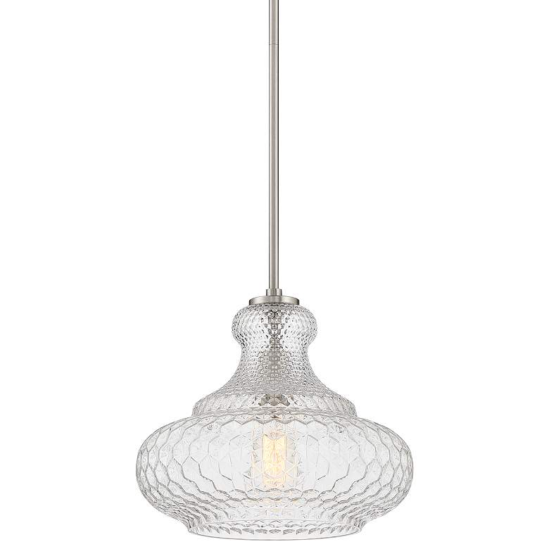 "Possini Euro Barnard 13 1/4""W Brushed Nickel and Glass Pendant Light"