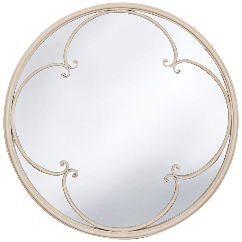 """Taylor Painted Taupe 23"""" Round Window Pane Wall Mirror"""