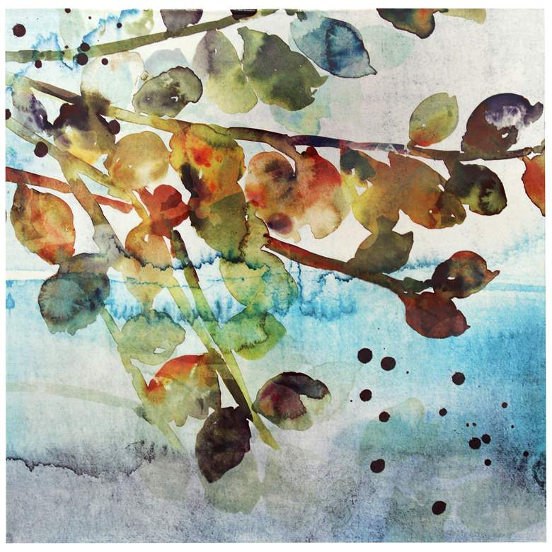 """Watercolor Leaves 36"""" Square Canvas Wall Art"""