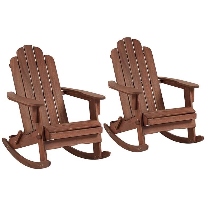 Chandler Dark Natural Adirondack Rocking Chairs Set of 2