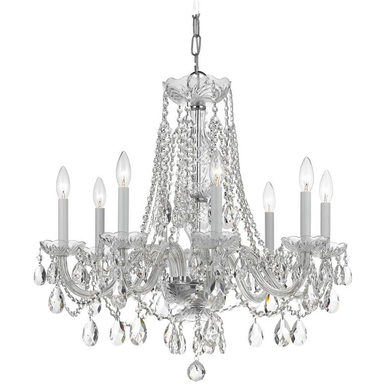 """Traditional Crystal 26""""W Polished Nickel 8-Light Chandelier"""