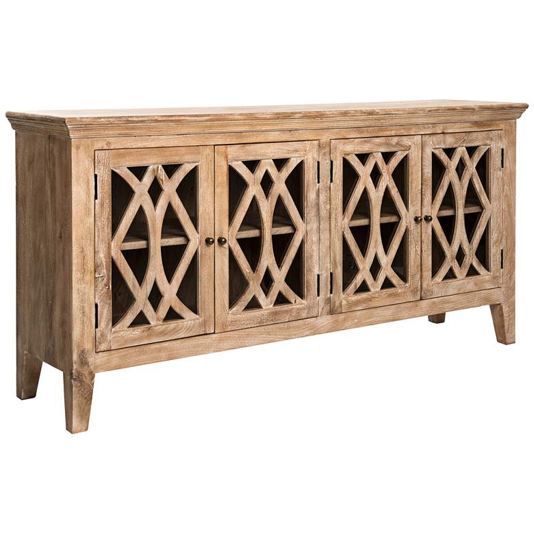 "Azalea 80"" Wide 4-Door Dogwood-Washed Wood Sideboard"