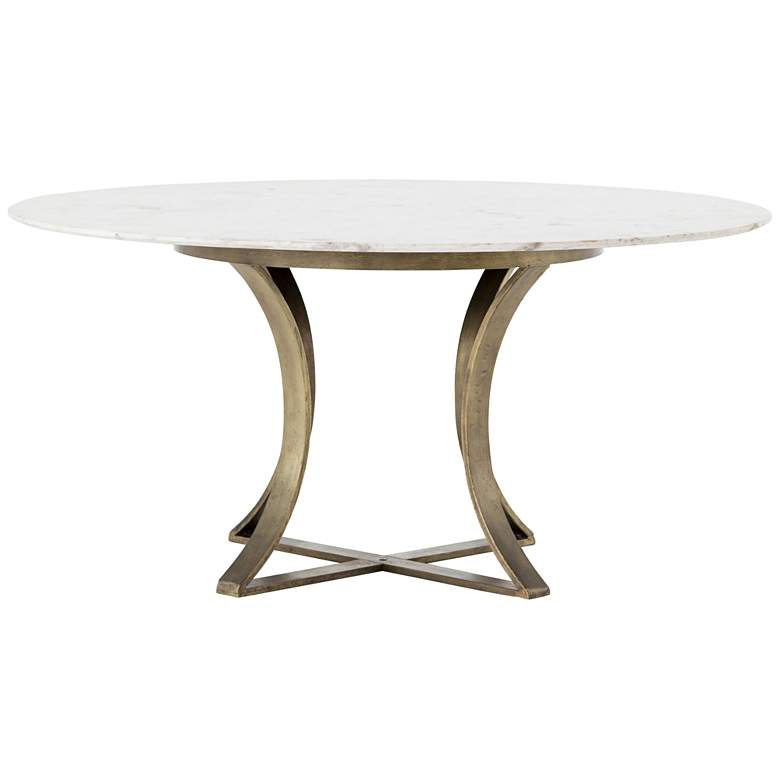 """Gage 60"""" Wide Polished White Marble and Brass Dining Table"""