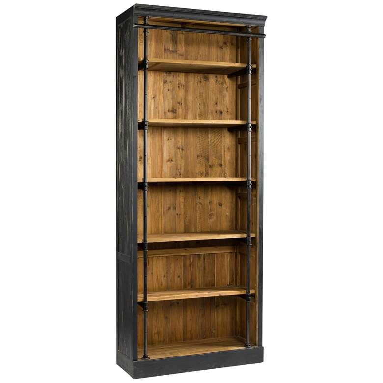 "Ivy 39 1/4"" Matte Black 6-Shelf Wood Bookcase"