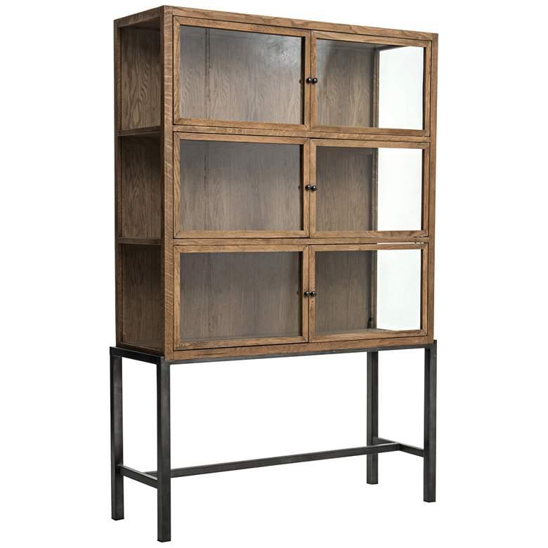 "Spencer 45 3/4"" Wide Drifted Oak 6-Door Curio Cabinet"