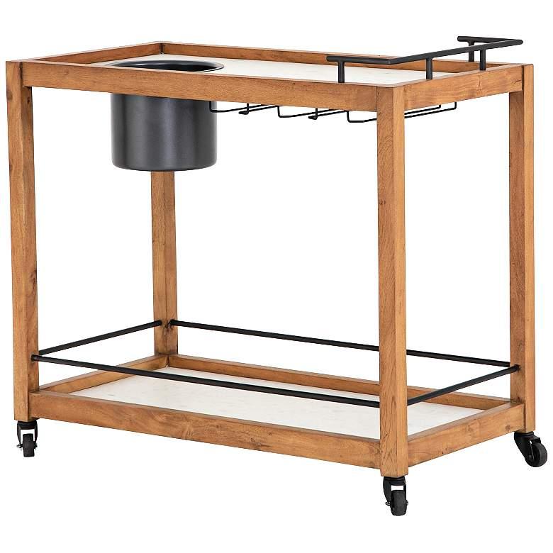 "Oakley 38"" Wide Light Acacia Wood Bar Cart"