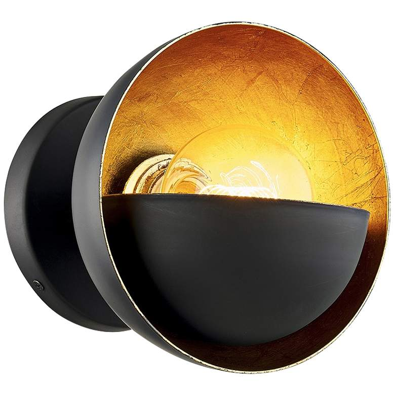 """Sunset Blvd 7"""" High Aged Bronze and Gold Leaf Wall Sconce"""
