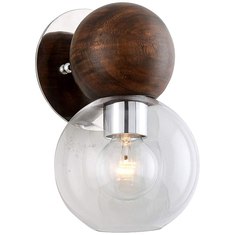 """Arlo 11 1/4""""H Stainless Steel and Natural Acacia Wall Sconce"""