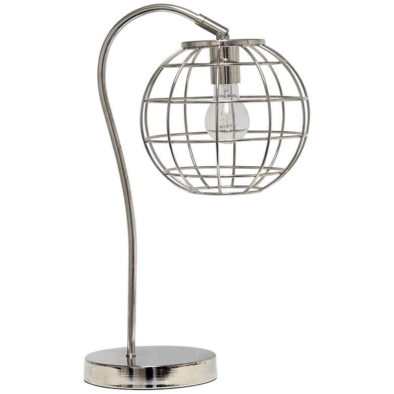 Lalia Home Chrome Arched Metal Desk Lamp with Cage Shade
