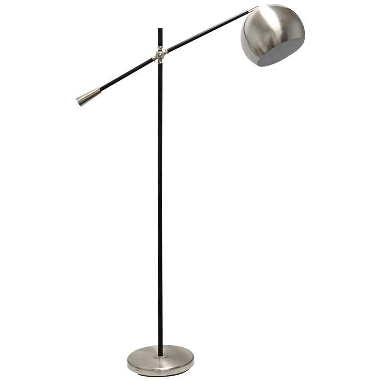 Lalia Brushed Nickel and Matte Black Swivel Floor Lamp