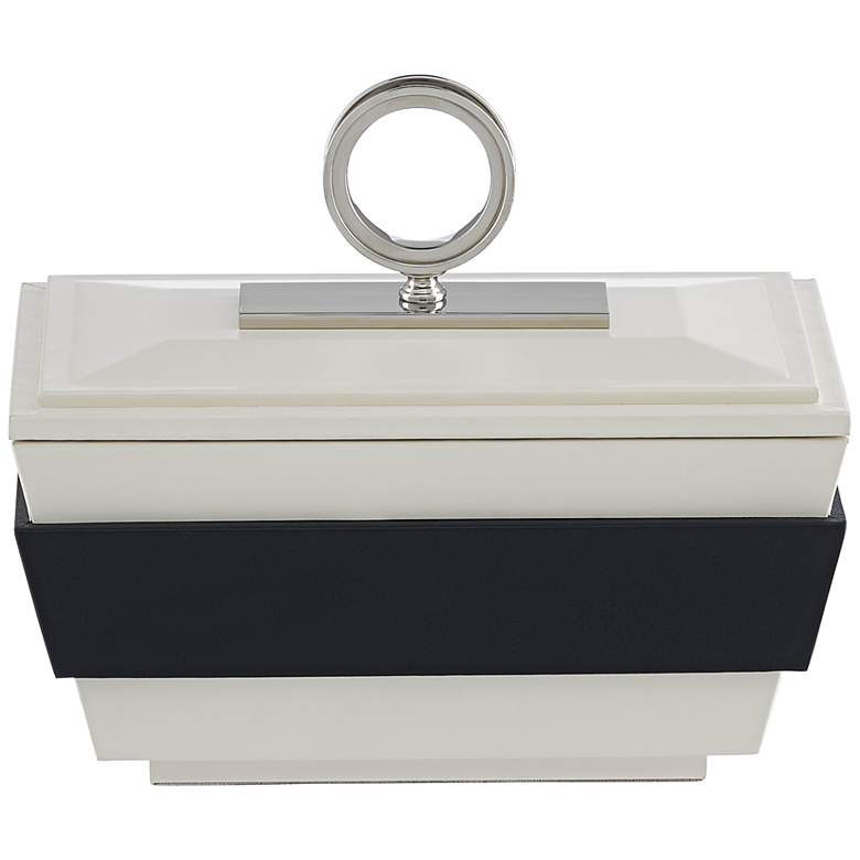Currey and Company Brash White and Navy Leather Box