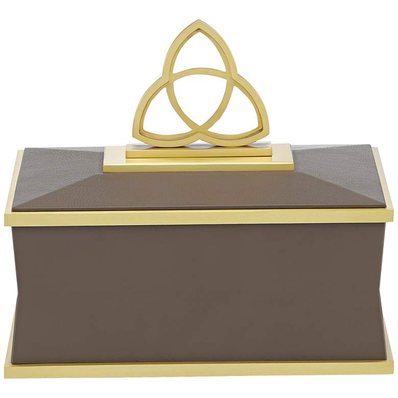 """Trinity 11 1/2"""" Wide Taupe and Brushed Brass Decorative Box"""