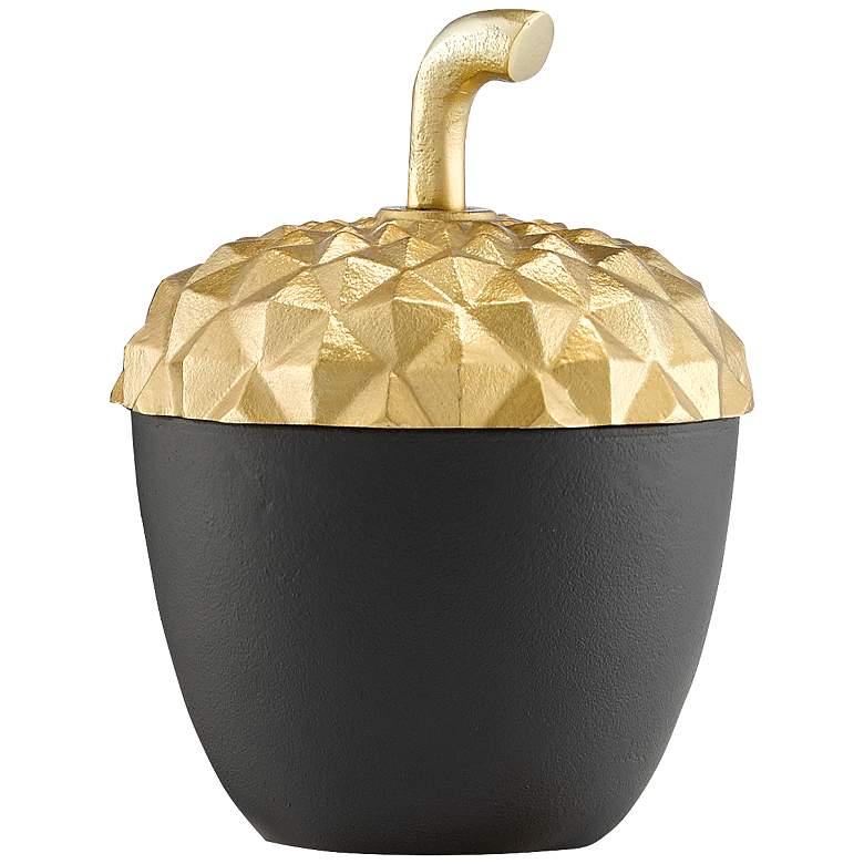 "Oaknut 8 3/4"" High Shiny Gold and Matte Black Decorative Jar"