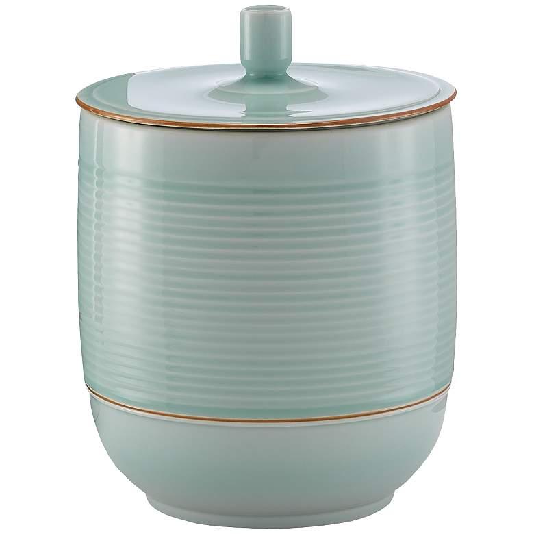 "Famen 12 3/4"" High Misty Green Porcelain Decorative Jar"