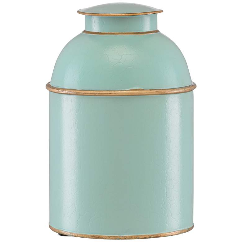 "Currey and Company London 11"" High Blue Iron Tea Box"