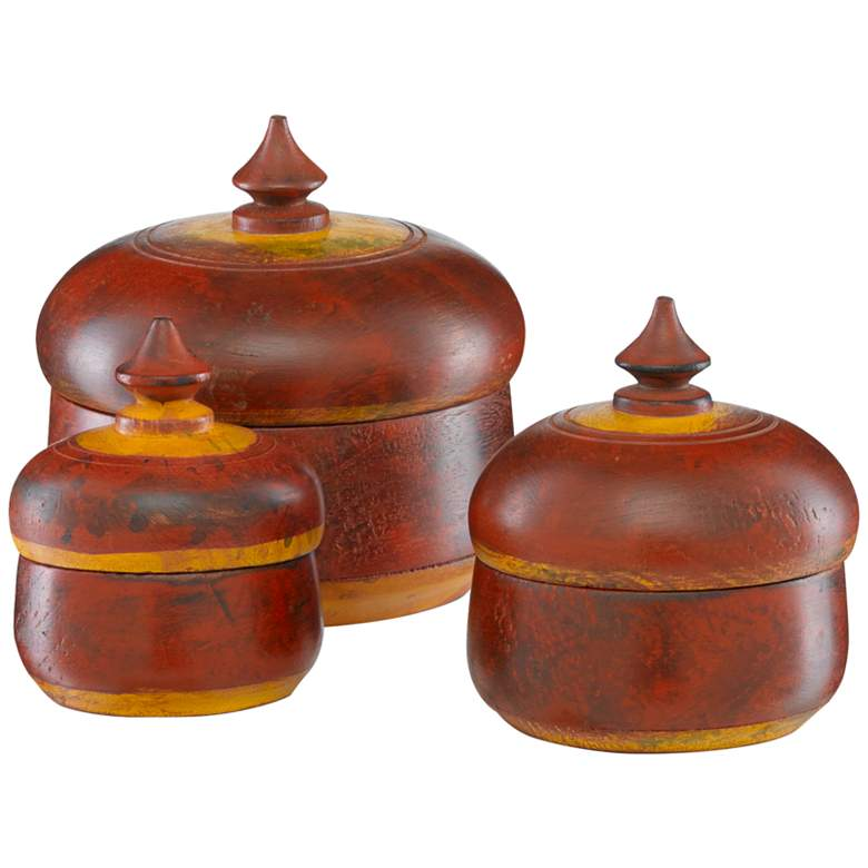 Currey and Company Jaisalmer Red and Yellow Boxes Set of 3