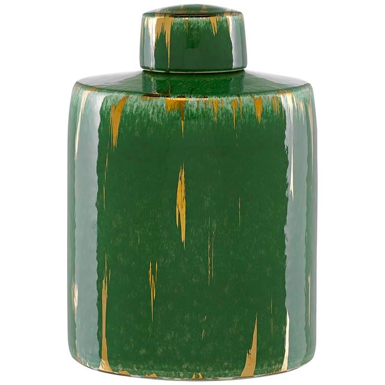 "Currey and Company Chloros 11"" High Green Porcelain Jar"