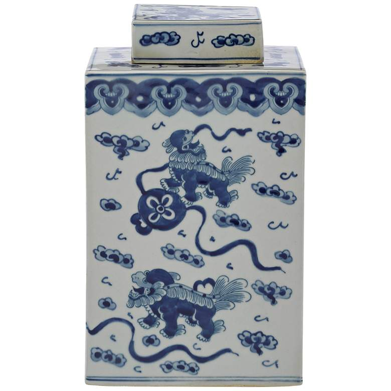 """Currey and Company Ming 12"""" High Blue and White Lidded Jar"""