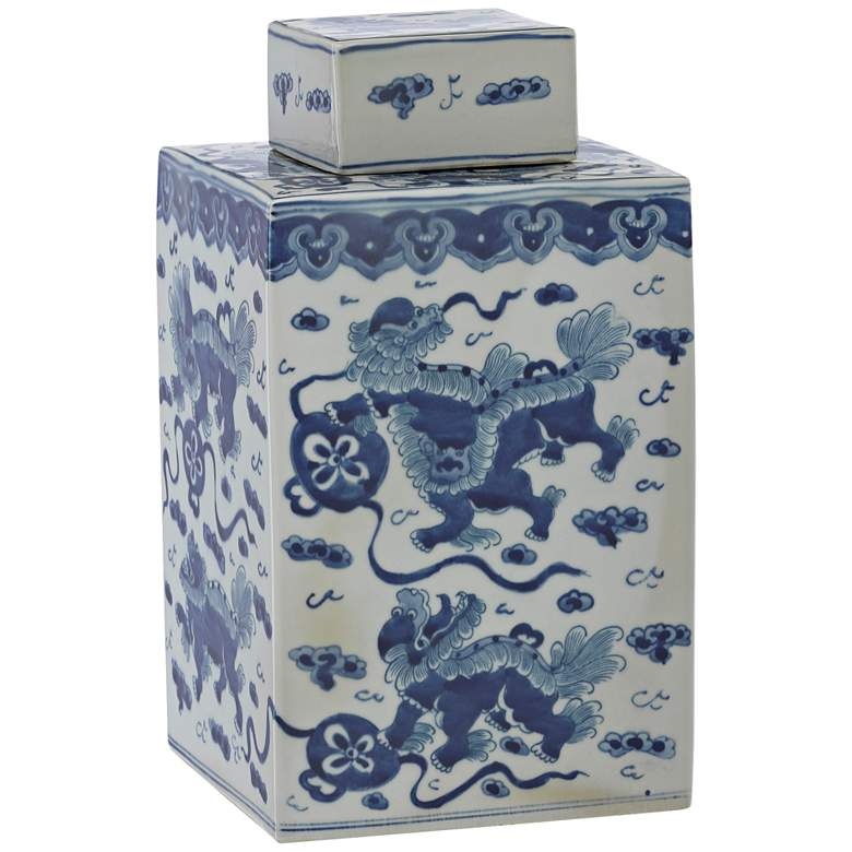 """Currey and Company Ming 14 1/2""""H Blue and White Lidded Jar"""