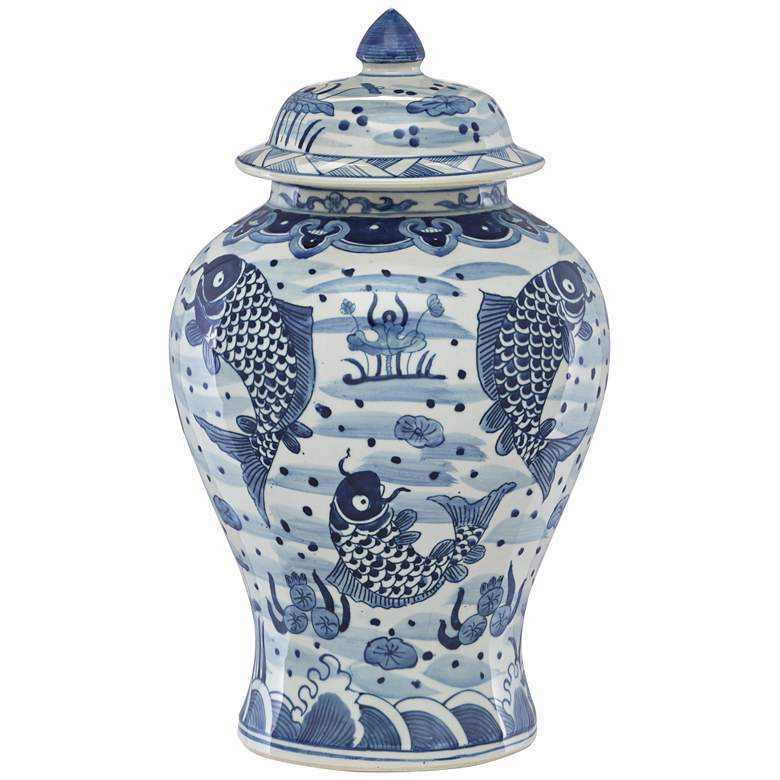 """Currey and Company Ming 17 1/4""""H Blue and White Lidded Jar"""