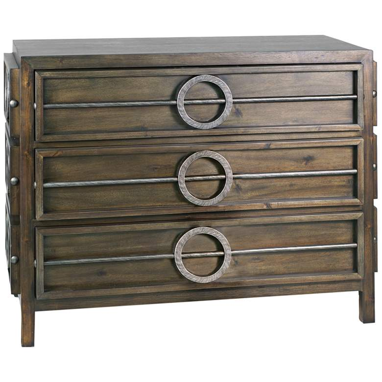 """Uttermost Riley 42""""W Weathered Walnut 3-Drawer Accent Chest"""