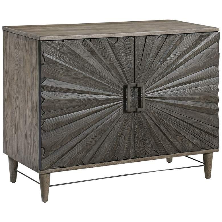 "Uttermost Shield 38"" Wide Gray Oak 2-Door Accent Cabinet"