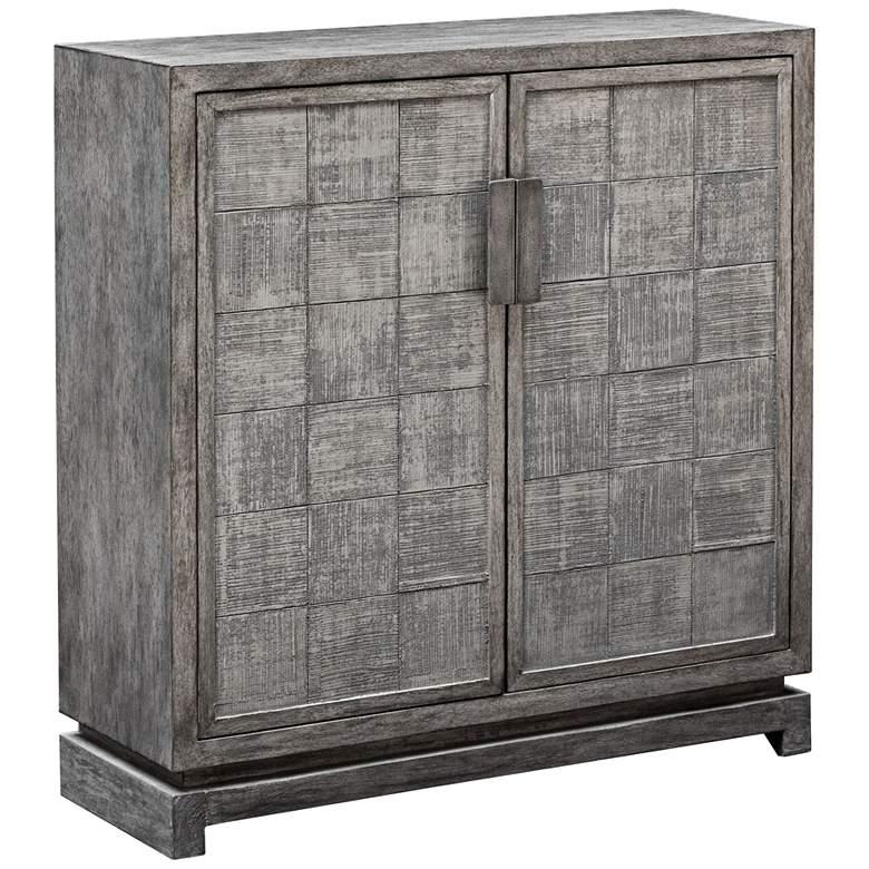 """Hamadi 34"""" Wide Warm Metallic Gray 2-Door Accent Cabinet"""