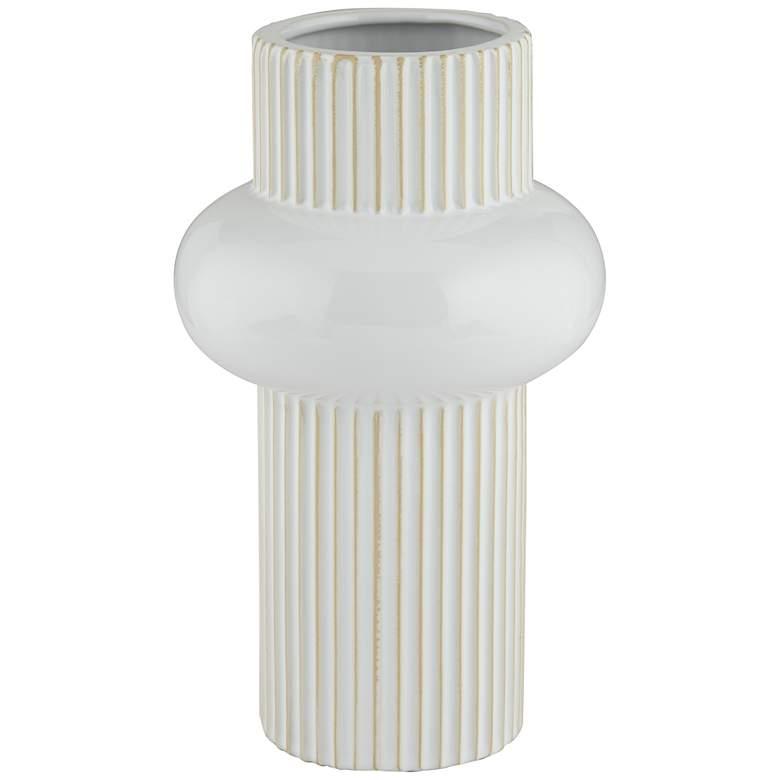 """White Rounded Center 11"""" High Modern Porcelian Vase"""