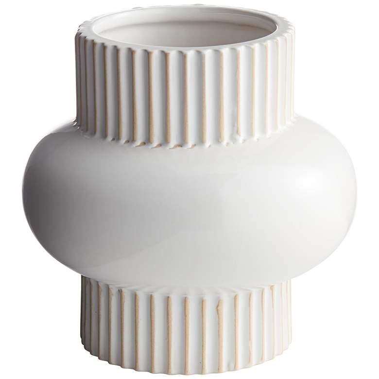 """Rounded Center 6 1/2"""" High White Porcelain Decorative Vase"""