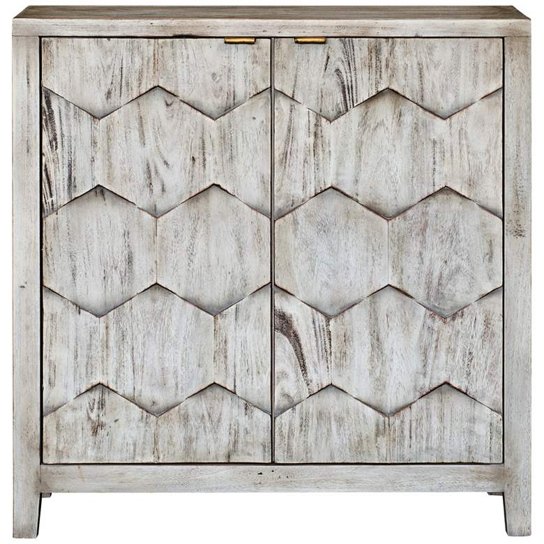 """Uttermost Catori 34""""W Smoked Ivory 2-Door Accent Cabinet"""