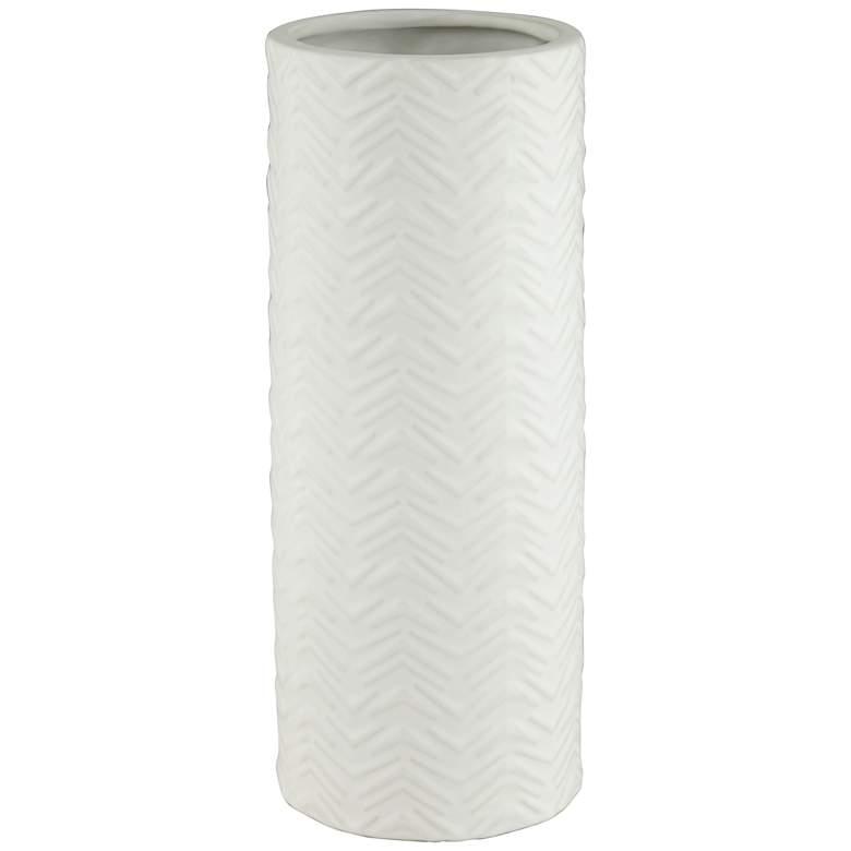 "Column 12 1/4"" High Handcrafted White Porcelian Vase"