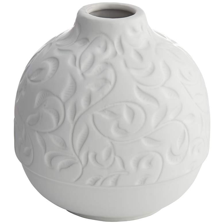 """Floral Carved 7"""" High Matte White Porcelain Decorative Vase"""