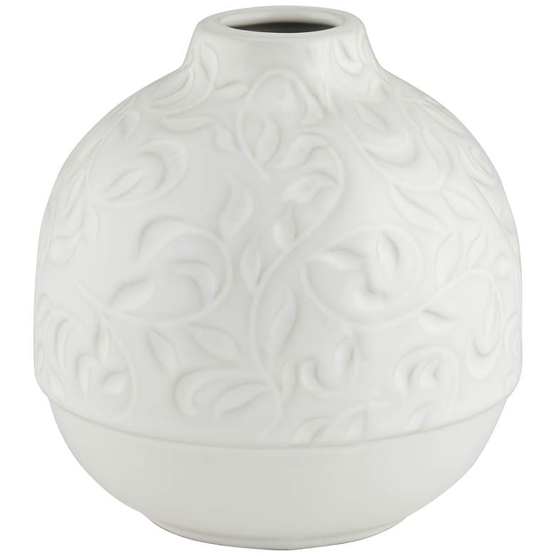 "White Floral Pattern 5 3/4"" High Decorative Vase"